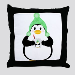 Penguin with Hot Cocoa Throw Pillow