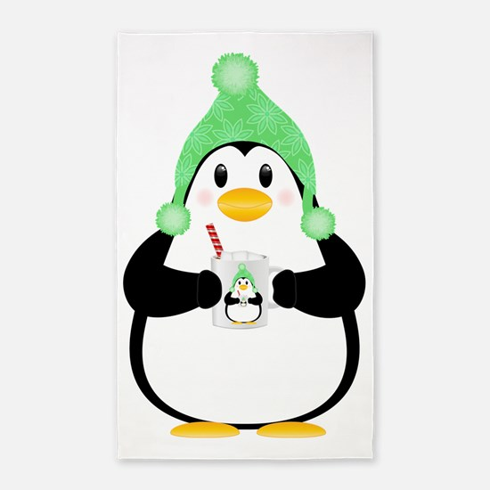 Penguin with Hot Cocoa Area Rug