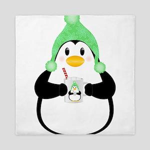 Penguin with Hot Cocoa Queen Duvet