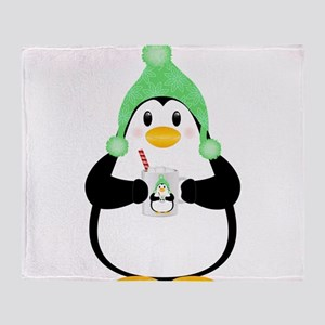 Penguin with Hot Cocoa Throw Blanket