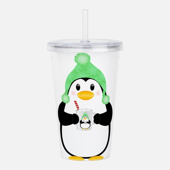 Penguin with Hot Cocoa Acrylic Double-wall Tumbler
