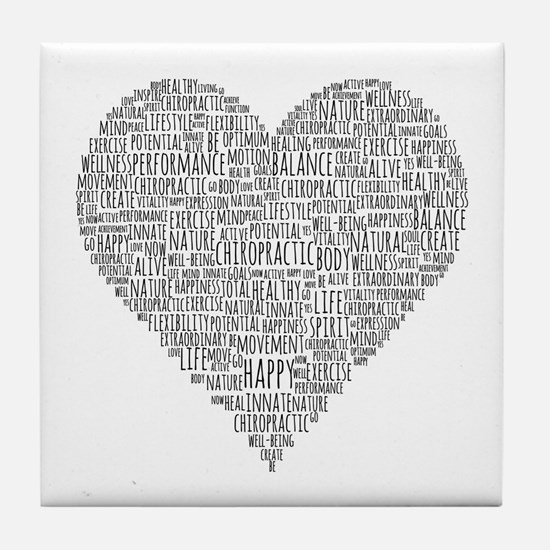 Chiropractic Heart-Shaped Word Tile Coaster