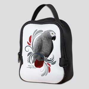 African Grey Neoprene Lunch Bag
