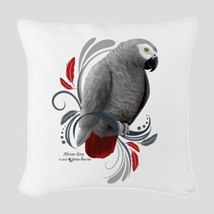 African Grey Woven Throw Pillow