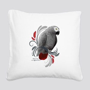 African Grey Square Canvas Pillow