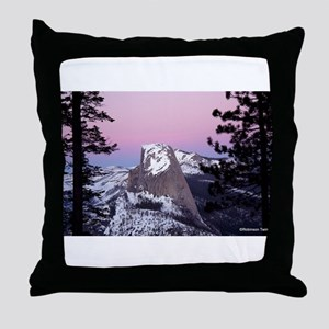 Half Dome during the winter, at sunse Throw Pillow