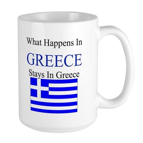 What Happens in Greece Large Mug