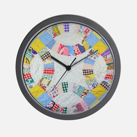 Colorful patchwork quilt Wall Clock