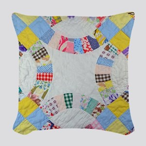 Colorful patchwork quilt Woven Throw Pillow