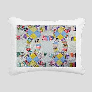 Colorful patchwork quilt Rectangular Canvas Pillow