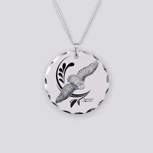 Flying Snowy Owl Necklace Circle Charm