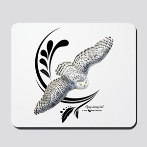 Flying Snowy Owl Mousepad