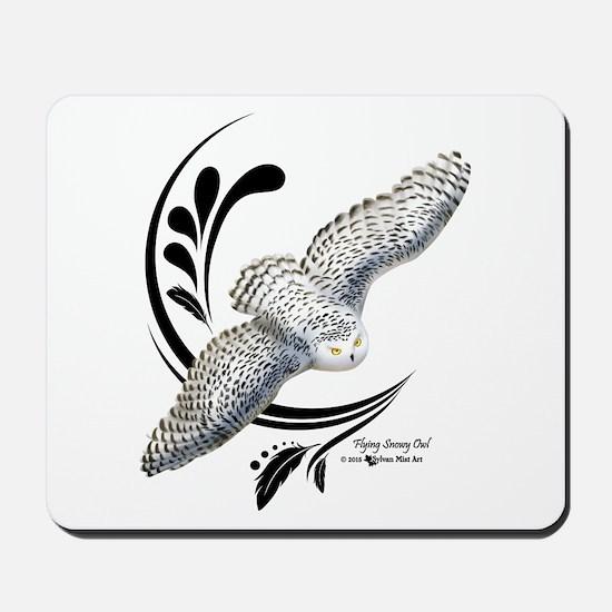 Flying Snowy Owl Mousepad