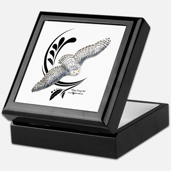 Flying Snowy Owl Keepsake Box