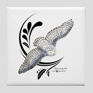 Flying Snowy Owl Tile Coaster