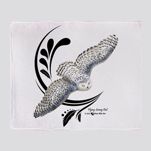 Flying Snowy Owl Throw Blanket