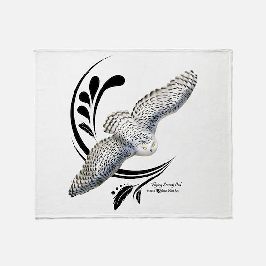Flying Snowy Owl Throw Blanket