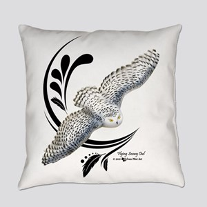 Flying Snowy Owl Everyday Pillow