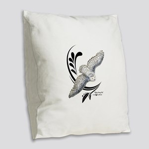 Flying Snowy Owl Burlap Throw Pillow
