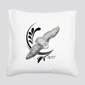 Flying Snowy Owl Square Canvas Pillow