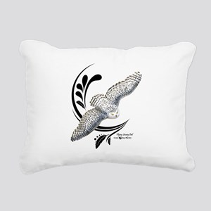 Flying Snowy Owl Rectangular Canvas Pillow