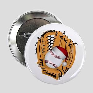 """Christmas Baseball 2.25"""" Button"""