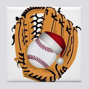 Christmas Baseball Tile Coaster