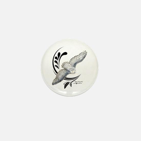 Flying Snowy Owl Mini Button