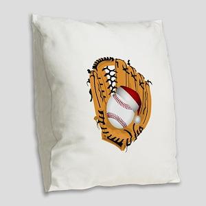Christmas Baseball Burlap Throw Pillow