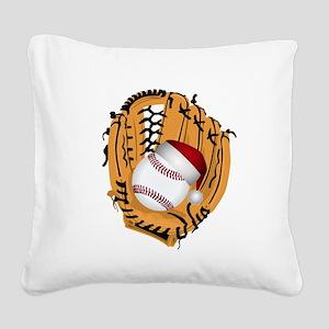 Christmas Baseball Square Canvas Pillow