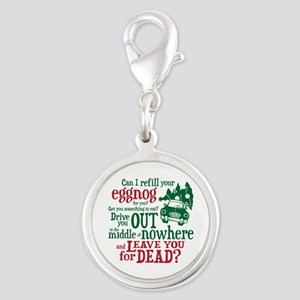 Eggnog Quote Silver Round Charm