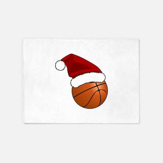 Christmas Basketball 5'x7'Area Rug