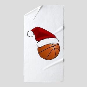Christmas Basketball Beach Towel
