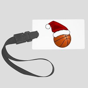Christmas Basketball Large Luggage Tag