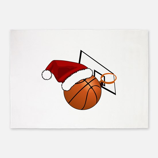 Christmas Basketball 5'x7'Area Rug