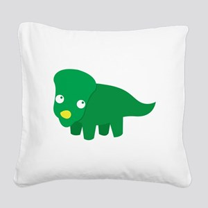 Cute green dinosaur Square Canvas Pillow