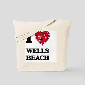 I love Wells Beach Maine Tote Bag