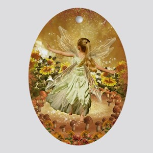 Fairy girl in fairy ring Oval Ornament