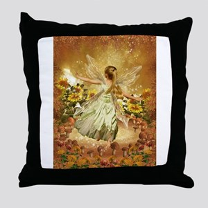 Fairy girl in fairy ring Throw Pillow