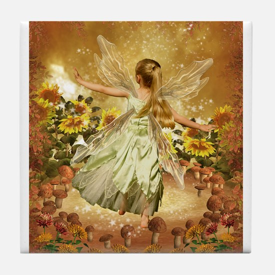 Fairy girl in fairy ring Tile Coaster