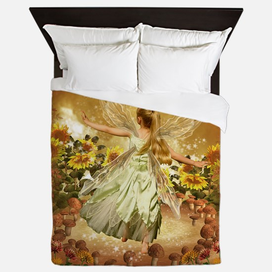 Fairy Girl In Fairy Ring Queen Duvet