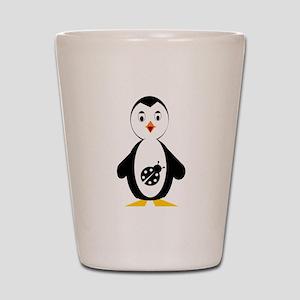 lady bug penguin Shot Glass