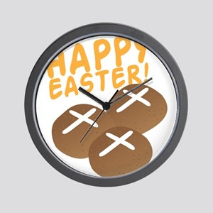 HAPPY EASTER with hot cross buns Wall Clock