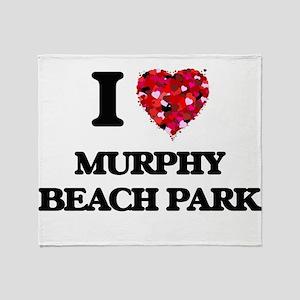 I love Murphy Beach Park Hawaii Throw Blanket