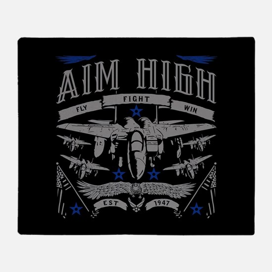 Aim High Fly Fight Win Throw Blanket