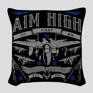 Aim High Fly Fight Win Woven Throw Pillow