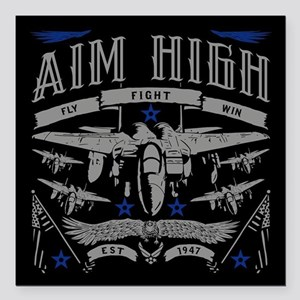 "Aim High Fly Fight Win Square Car Magnet 3"" x 3"""
