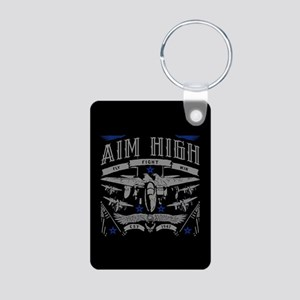 Aim High Fly Fight Win Aluminum Photo Keychain