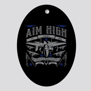Aim High Fly Fight Win Oval Ornament