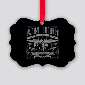Aim High Fly Fight Win Picture Ornament